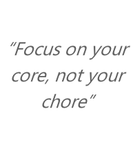 """Focus on your core, not your chore"""